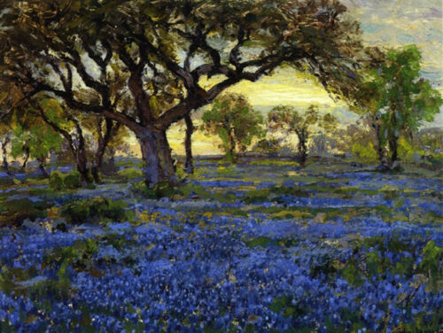 Old Live Oak Tree and Blue Bonnets ... by Onderdonk  Giclee Canvas Print Repro
