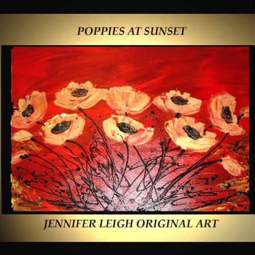 """ORIGINAL LARGE ABSTRACT CONTEMPORARY MODERN ART PAINTING Poppies 36x24"""" JLEIGH"""