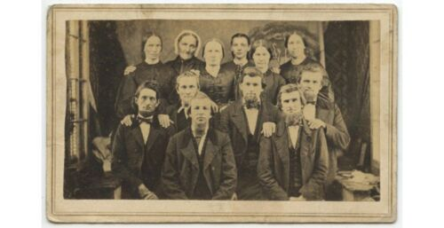 AMISH PA DUTCH GROUP OF 12 PEOPLE FROM NORRISTOWN, PA BY TRAVELING ARTIST, CDV