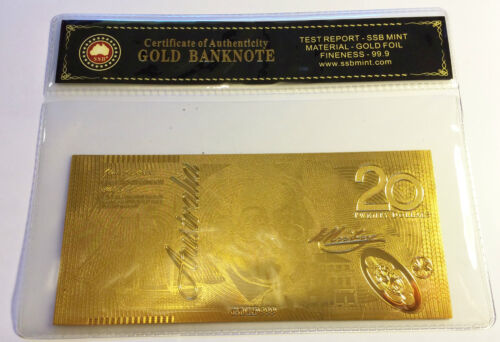 AUSTRALIAN $20.00 NEW NOTE SERIES 24K 999.0 GOLD FOIL BANK NOTE C.O.A. PACK