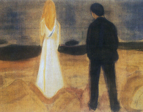 The Lonely Ones  by Edvard Munch  Giclee Canvas Print Reproduction