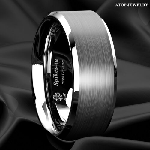 Brushed Center Tungsten Carbide 8mm Men's Wedding Band Comfort Fit Ring