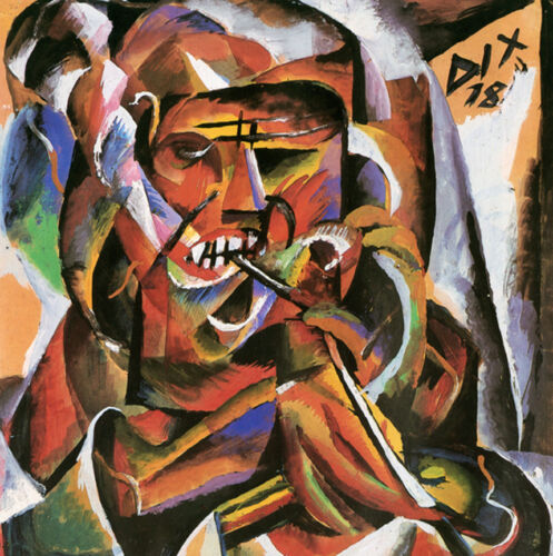 Warrior with Pipe by Otto Dix   Giclee Canvas Print Repro
