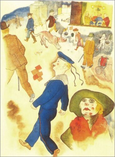 Passers-by    by George Grosz  Giclee Canvas Print Repro
