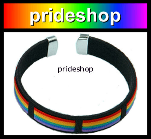 Rainbow And Black With Silver Tone Tips Gay Lesbian Rainbow Store Bracelet #992