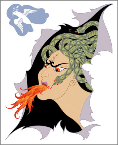 The Seven Deadly Sins, Anger by Erte  Giclee Canvas Print Repro