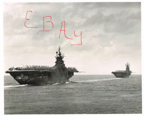 WWII LARGE 11X14  PHOTOGRAPH OF USS YORKTOWN AND USS SHANGRI LA PTO ACTION LOOKReproductions - 156443