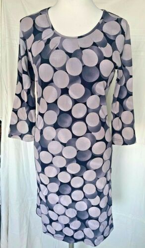 Adini 100% cotton jersey dress 3/4 sleeves unlined printed inverted pleat neck