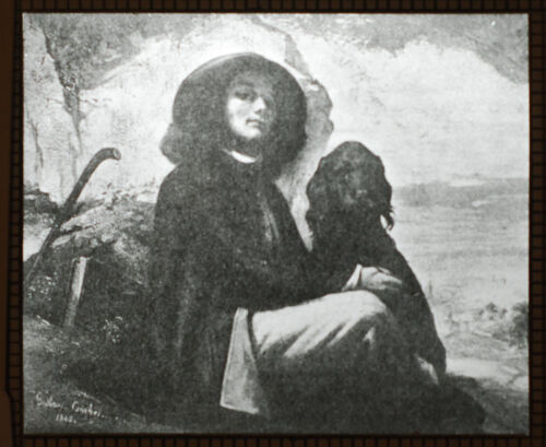 LANTERN SLIDE LITHOGRAPH OF A GUSTAVE COURBET PAINTING SELF PORTRAIT WITH DOG.