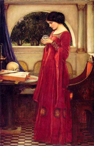 The Crystal Ball   by John William Waterhouse  Giclee Canvas Print Repro