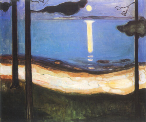 Moonlight  by Edvard Munch   Giclee Canvas Print Repro