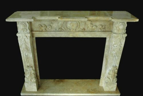 Camino in Pietra Travertino Interior Classic Design Stone Fireplace Stile Impero