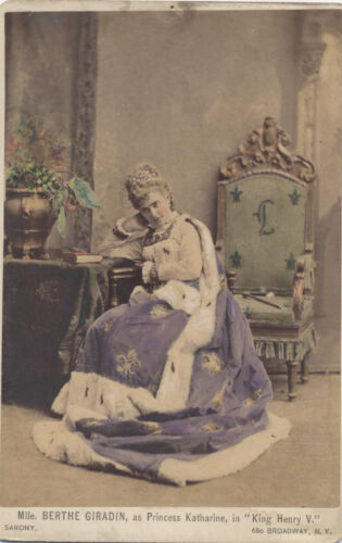 1875 HAND COLORED CABINET CARD PORTRAIT OF ACTRESS BERTHE GIRADIN - NYC, NY