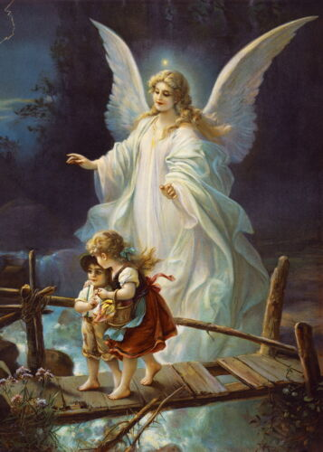 Canvas Print Oil Painting Picture Guardian Angel on canvas 20x28 inches L117