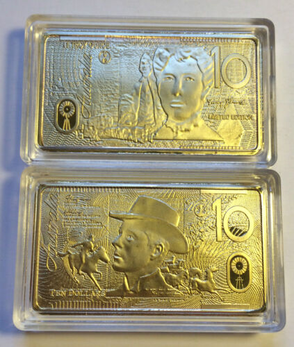 NEW 1 OZ $10.00 POLYMER AUST NOTE SERIES INGOT FINISHED IN 999 24k Gold