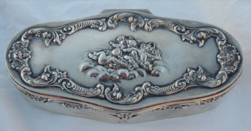 SHREVE & CO. STERLING SILVER CHERUBS ANTIQUE JEWELRY BOX