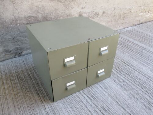 Vintage Metal Card Catalog File Cabinet - Four(4) Drawers - Olive Green (#3)