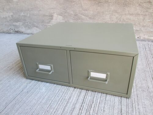 Vintage Metal Card Catalog File Cabinet - Two(2) Drawers - Olive Green (#2)