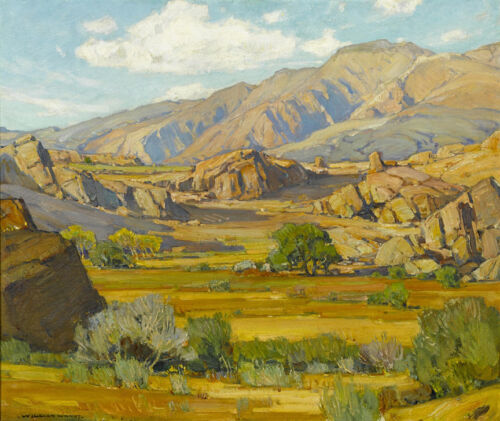 Rocky Desert Mountains   by William Wendt   Giclee Canvas Print Repro
