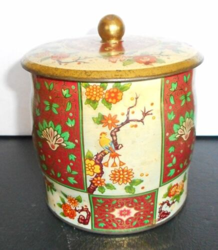 "EDWARDIAN Vintage Arts and Crafts Tin Made in England- Birds & Flowers 5.5"" T"