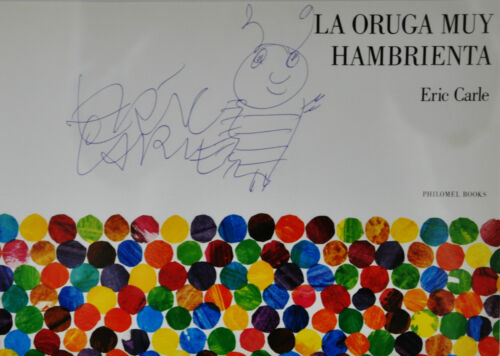 FRAMED~ SIGNED ERIC CARLE DRAWING~SPANISH EDITION~THE VERY HUNGRY CATERPILLAR