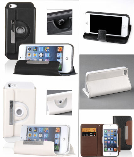 iPhone 5, 5S PU Leather Stand 360 Rotating Flip Case Cover Protector Wallet