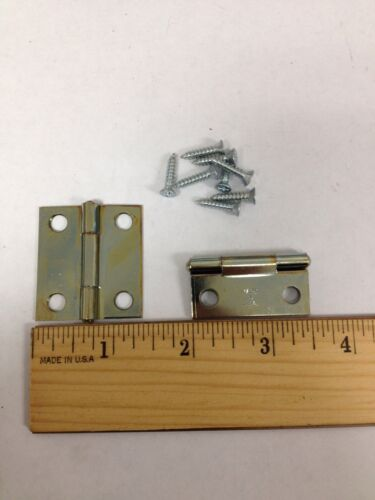 "Lot of 2 838 Cabinet Door Hinges Round Tip 1-3/8 x 1-1/2"" Jewelry Box Shutter"