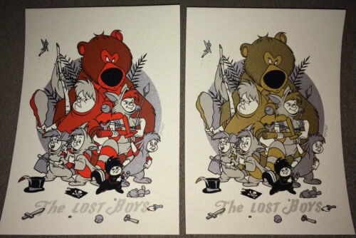 """TYLER STOUT """"The Lost Boys"""" DISNEY PETER PAN VARIANT GOLD & RED PRINT SET RARE**"""