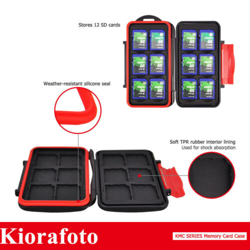 KIORA Water-Resistant Memory Card Case Storage With Carabiner For 12SD Cards