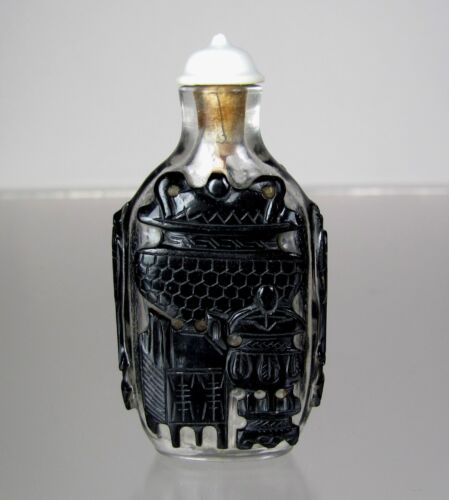 "19th C., Peking Glass Black Overlay Snuff Bottle , ""Nine Bronze Vessels"""