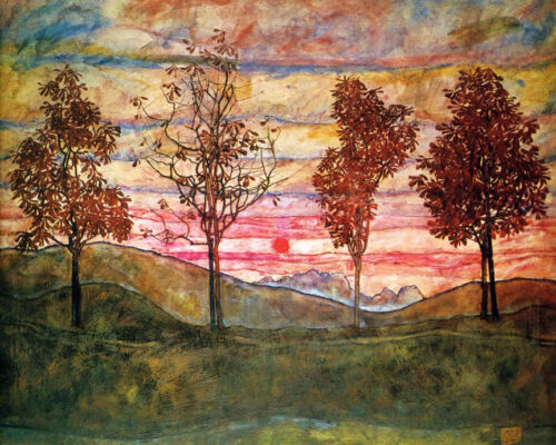 Four Trees  by Egon Schiele   Giclee Canvas Print Repro