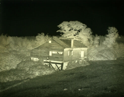 1920S 6X8 GLASS NEGATIVE OF OLD MILL SURROUNDED BY TREES - SMOKE RUN, PA
