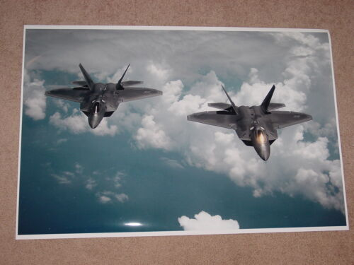 TWO F22 RAPTOR MILITARY JETS AIRCRAFT POSTER PRINT 24x36 HI RES 9 MIL PAPER