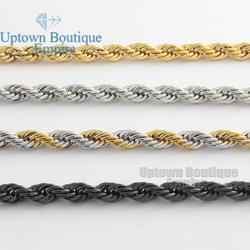 """18-36""""Men's Stainless Steel Gold Silver Black 3.5/5mm Rope Necklace Chain Link"""