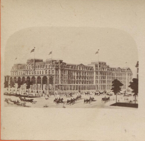 VINTAGE STEREOVIEW PHOTO OF LITHOGRAPH OF HOTEL SARATOGA SPRINGS, N.Y.