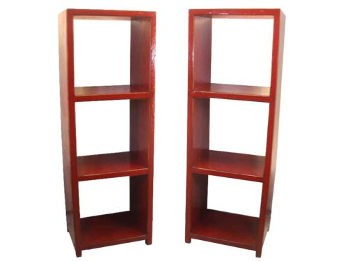 A Pair of Chinese Beautiful Wooded Red Bookcase bookshelf display cabinet