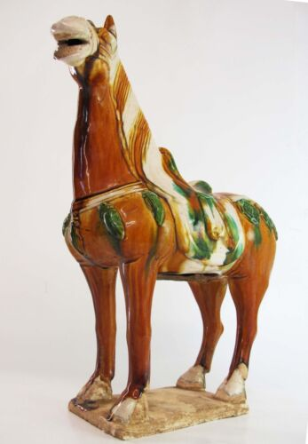 A Chinese 15.2-inch Tang Style Sancai 3 Color Porcelain Pottery Horse Statue