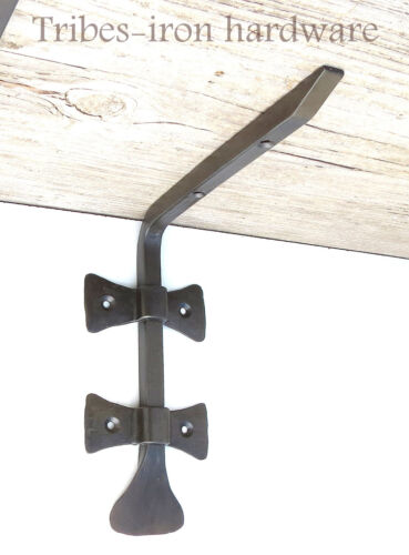 "2 HAND FORGED 6.8"" SHELF BRACKETS WROUGHT IRON Country Antique Wall Decor Holder"