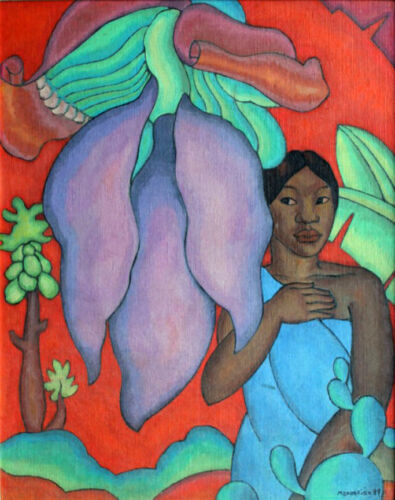 Girl with a Banana Leaf  by Arman Manookian   Giclee Canvas Print Repro