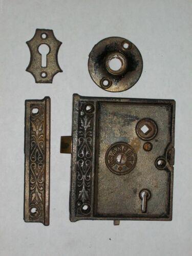 Antique Branford Rim Lock With Strike, Key Hole and Rosette
