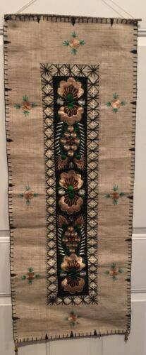 """ETHNIC HAND MADE Embroidery On Linen WALL HANGING TAPESTRY DECORATION 15'x 38"""""""