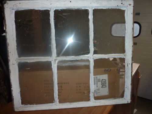 """c1890 ANTIQUE six pane window SALVAGed from local victorian home 31 x 27"""" ~ 9x12"""