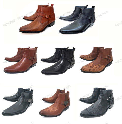 Men's Cowboy Boots Western Leather Lined Ankle Harness Strap Zipper Shoes, Sizes