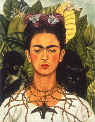 Self-Portrait with Necklace of Thorns  by Frida Kahlo  Giclee Canvas Print Repro