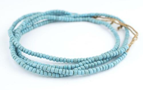 Vintage Turquoise Blue Glass Beads 2 Strands 5mm Ghana African Seed Handmade