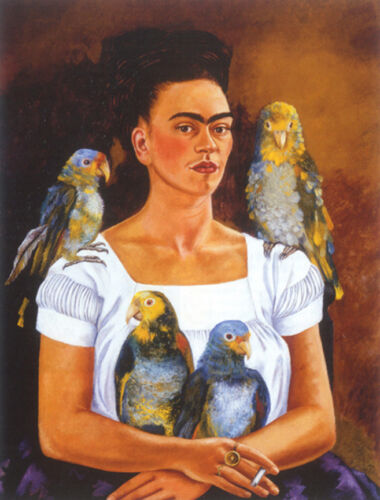 """Me and My Parrots  by Frida Kahlo  14""""  Paper Print Repro"""