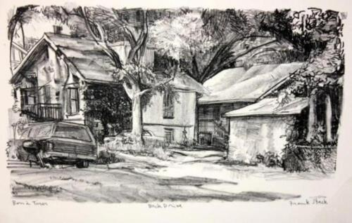 """Frank Stack Signed """"Back Drive"""" Etching (Robert Crumb contemporary)"""