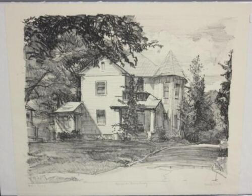 """Frank Stack Signed """"House on Broadway"""" Etching (Robert Crumb contemporary)"""