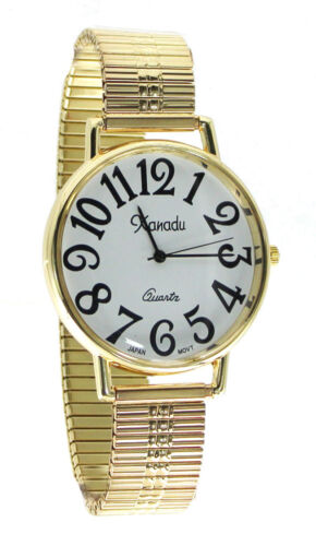 Unisex Super Large Face Stretch Band Easy to Read WatchWristwatches - 31387