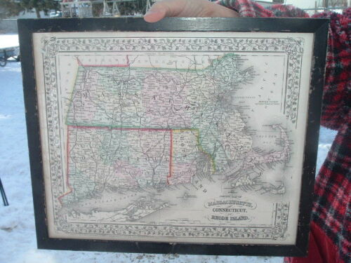 Framed and Matted 1870 Augustus Mitchell Map Connecticut Rhode Island